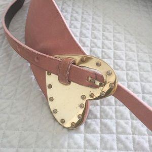 Escada Suede pink belt with gold heart